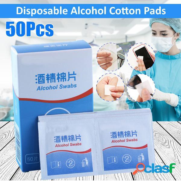 50 piezas de hisopos con alcohol, toallitas húmedas 75%, primeros auxilios, limpiador de piel para el hogar, esterilización