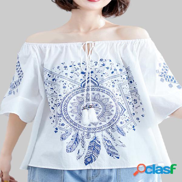 Vendimia blusa informal de manga corta con cuello de pico y estampado floral para mujer