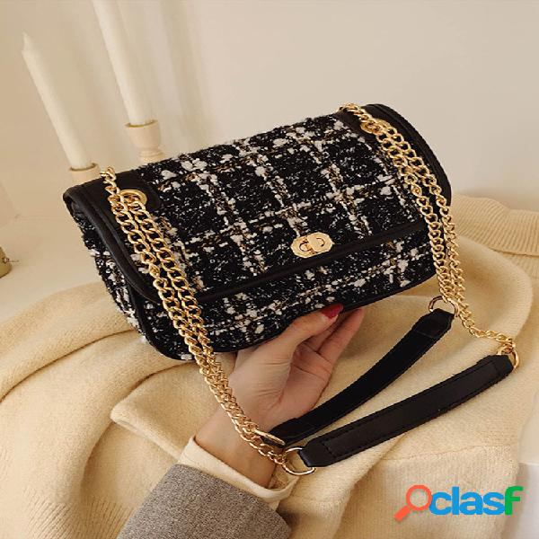 Mujer mix color woven wool vendimia cadena bolsa embrague bolsa crossbody bolsa