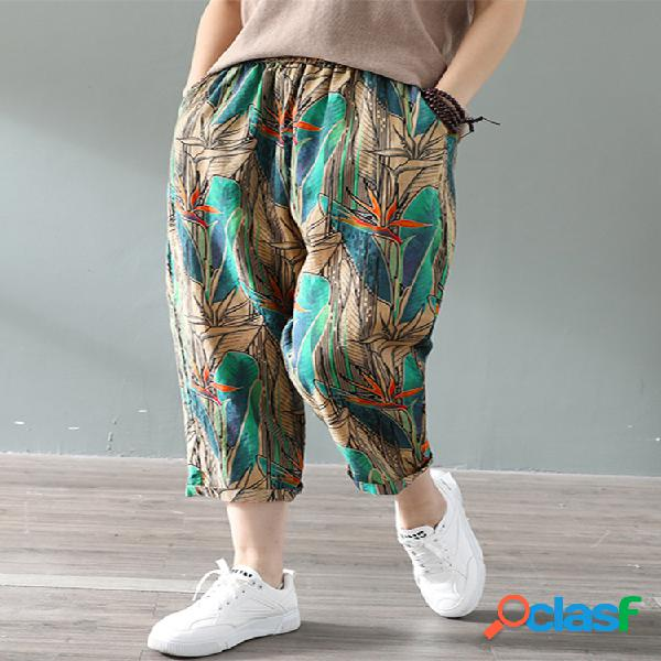Vendimia cintura elástica con estampado plus talla algodón pantalones para mujer