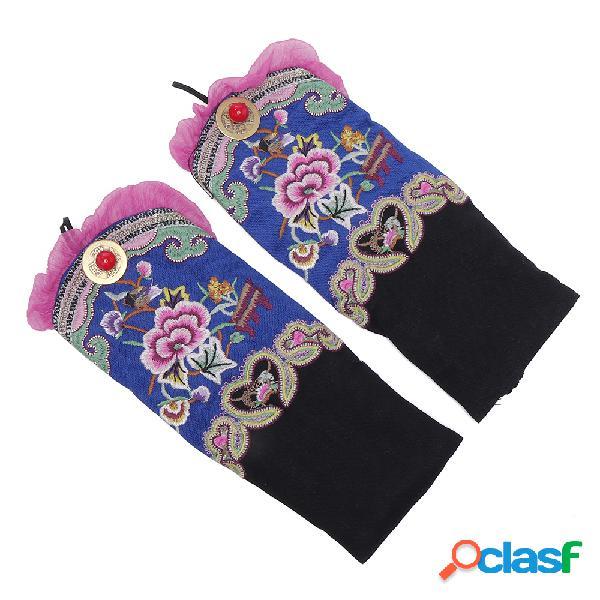 Mujer vendimia flor de bordado de estilo étnico guantes baile caliente pulsera accesorios