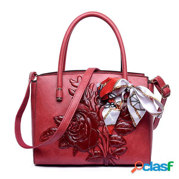 Mujer vendimia bolso floral nacional soft bandolera de cuero bolsa