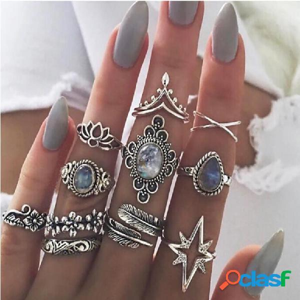 Vendimia anillo de dedo joya estrellada hojas flor mariposa anillos de nudillo conjunto joyería de moda para mujer