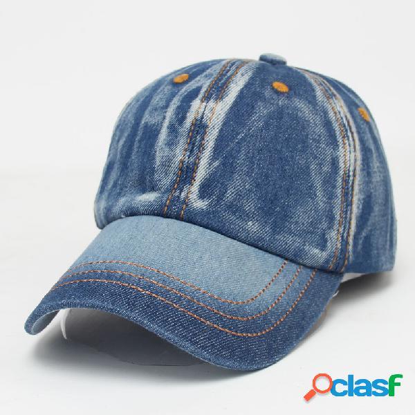 Hombres mujer vendimia gorra de béisbol de mezclilla de color sólido casual travel visor snapback caps jeans sombrero