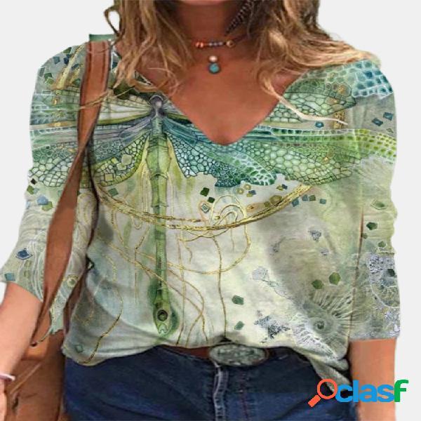 Blusa de manga larga con cuello en v y estampado de libélula vendimia blusa para mujer