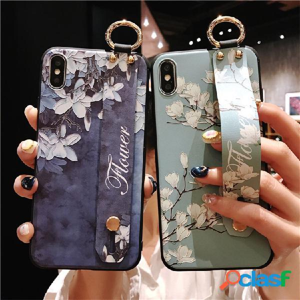 Mujer vendimia flower style phone caso con correa de muñeca soporte contraportada para teléfono