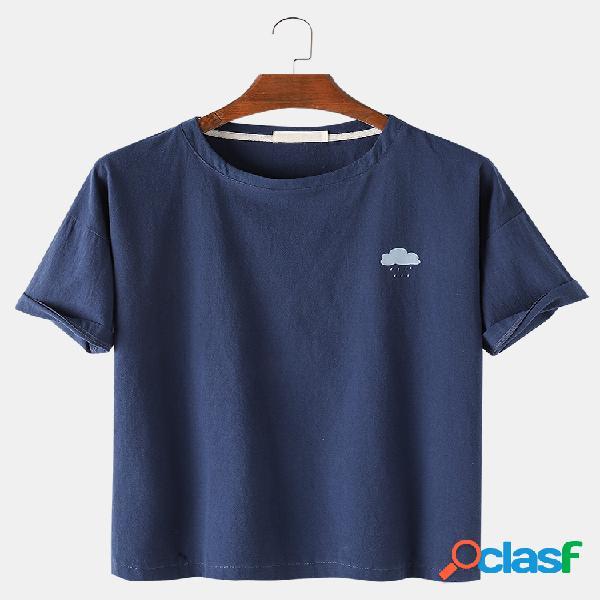 Mens weather patrón imprimir color sólido suelto casual redondo cuello camisetas