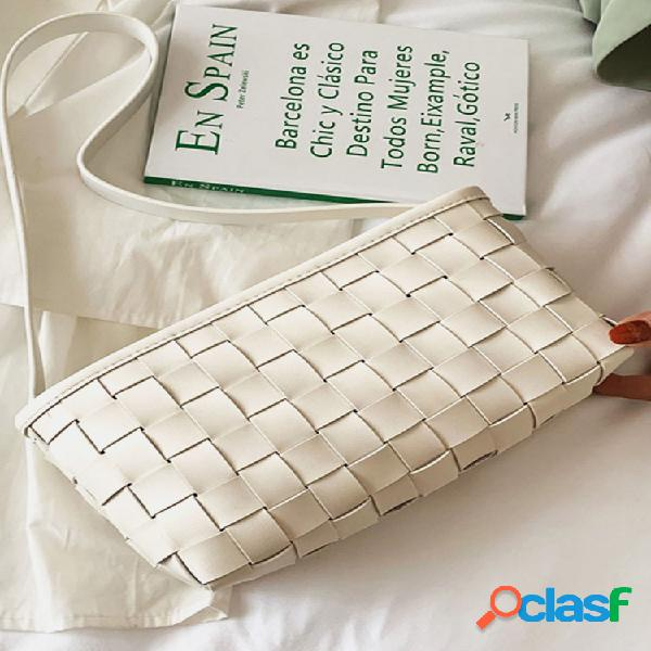 Mujer vendimia hombro acolchado tejido bolsa bolso