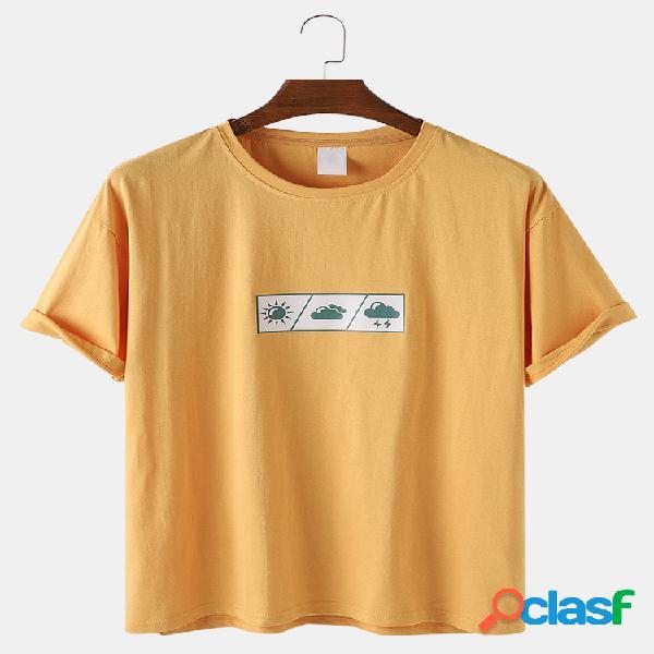 Algodón para hombre weather patrón print plain loose light o-neck t-shirts