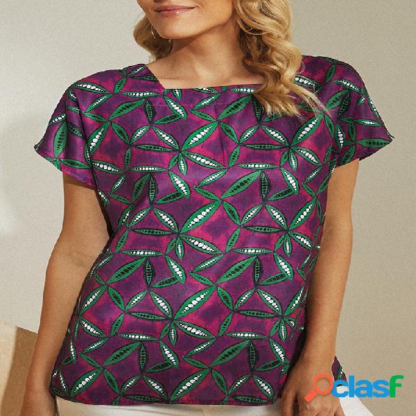 Vendimia blusa estampada manga corta cuello cuadrado para mujer