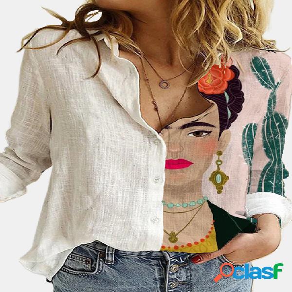 Vendimia blusa estampada de patchwork con cuello vuelto y manga larga para mujer
