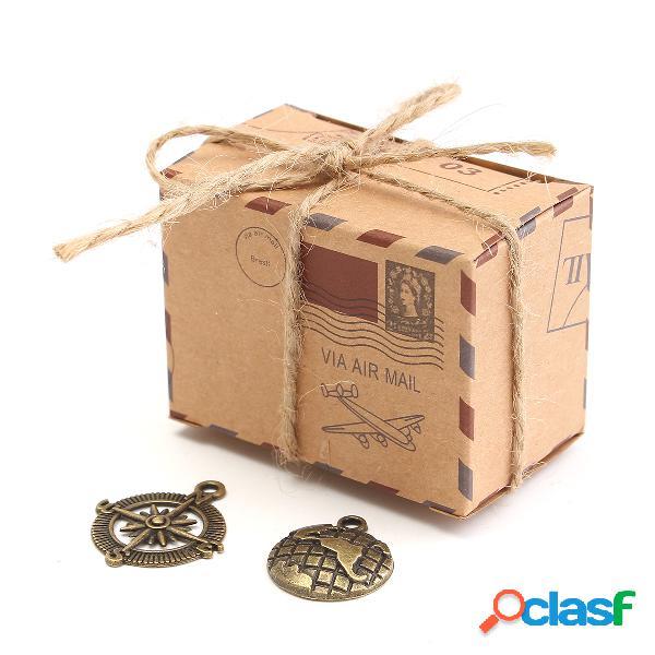 50 unids papel kraft caja aeroplano correo candy caja rústico boda favores shabby vendimia embalaje de regalo bolsa