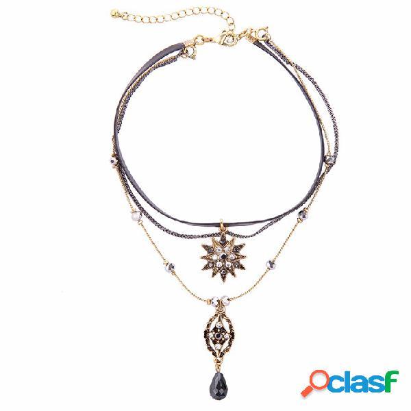 Vendimia collar de múltiples capas cadena de flor de cuero gota de agua colgante joyería étnica para mujer