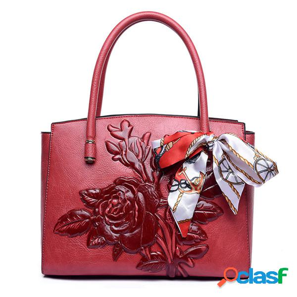 Mujer bolso casual con relieve vendimia crossbody de cuero sólido de pu bolsa
