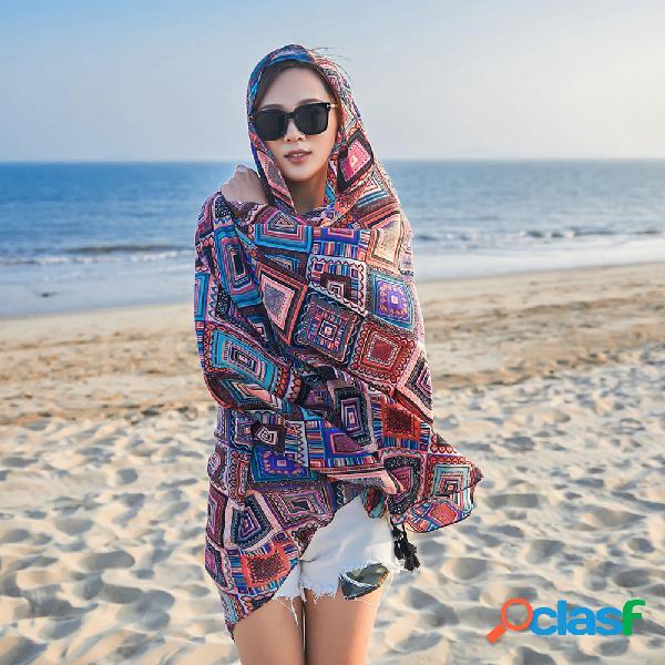 Mujer verano vendimia moda algodón multiusos y lino estampado de bufanda al aire libre playa bufanda