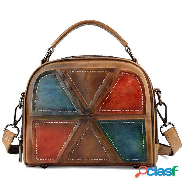 Mujer vendimia piel genuina hecho a mano cepillo bolsos de colores costura crossbody bolsa