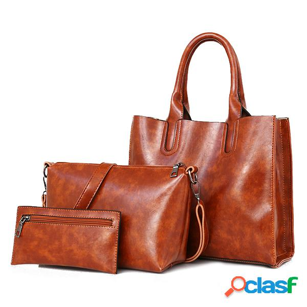 3 pcs mujer vendimia bolso de ocio oil crossbody de cuero de cera bolsa