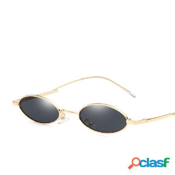 Mujer vendimia gafas de sol ovaladas uv400 gafas de sol con montura de metal al aire libre gafas de sol travel playa