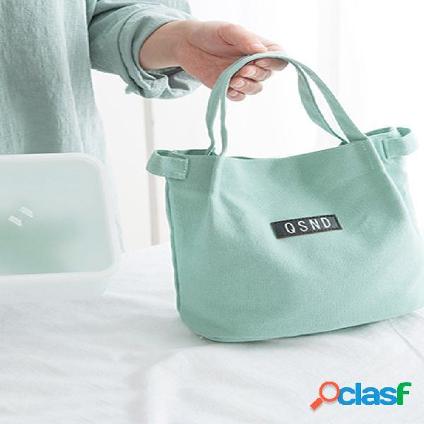 Lady shoulder bolsa cubo de lona de moda bolsa bento bolsa almuerzo simple de color cálido bolsa