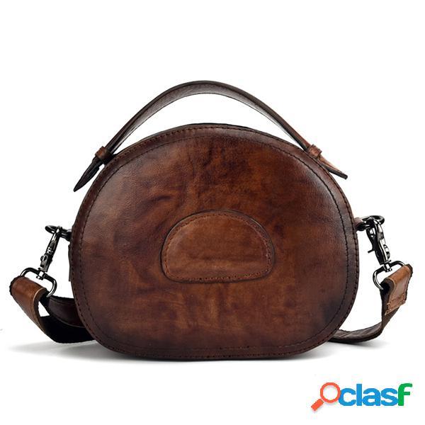 Mujer vendimia piel genuina bolsos de mano cepillo crossbody bolsa