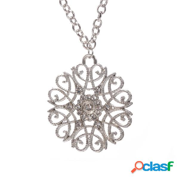 Vendimia colgante collar de plata antigua flor hueca encanto collar joyería étnica para mujer