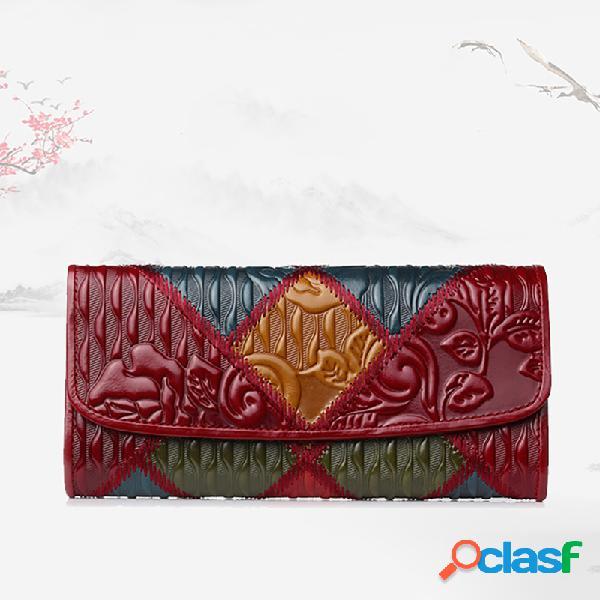 Mujer patchwork teléfono bolsa oil cera piel genuina vendimia monedero flor