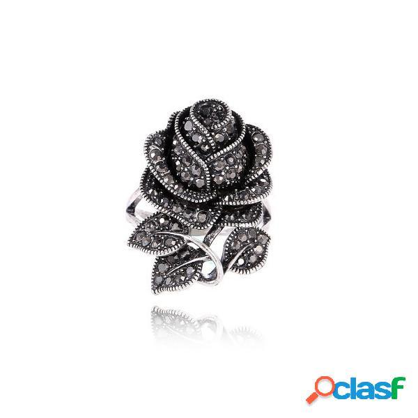 Lujo negro lleno rhinestone rose flor anillos para mujer vendimia grandes anillos únicos para mujeres regalo