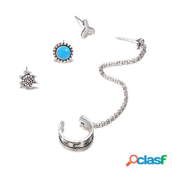 Vendimia oreja stud pendientes flor de plata antigua cadena redonda pendientes joyería étnica para mujer