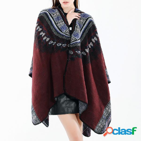 Mujer vendimia bufanda de mezcla de lana de estilo étnico mantón informal soft cálida bufanda transpirable