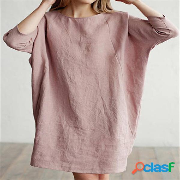 Mujer vendimia casual vestido algodón holgado vestido