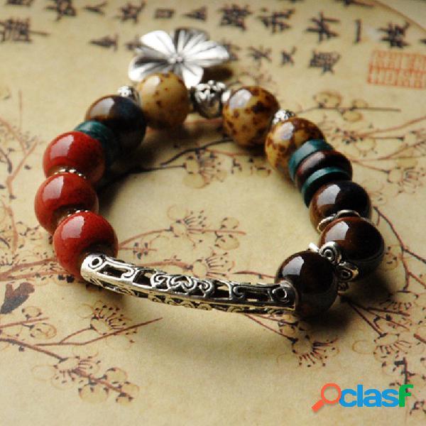 Étnicas colorful cuentas flor elástica encanto pulseras para mujer vendimia pulseras cerámico ajustables