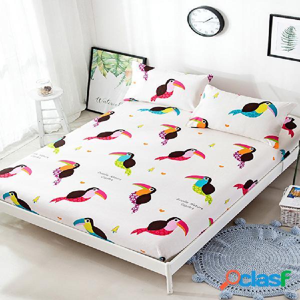 Nueva sábana ajustable pájaro impreso twin full queen king funda de sábana de algodón tamaño 3