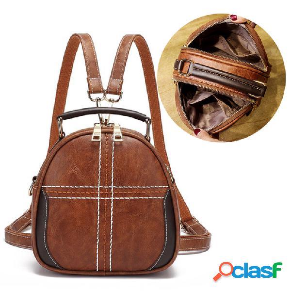 Mujer vendimia bolsos de cuero sintético mochila multifunción crossbody de doble capa bolsa