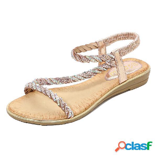 Mujer rhinestone decor elastic banda slip on flats sandalias