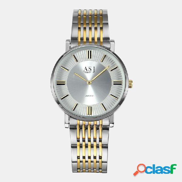 Simple fashion men mujer modelos pareja reloj acero cinturón reloj de cuarzo con esfera ultrafina