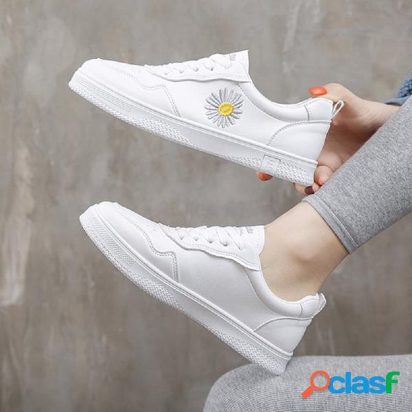 Mujer daisy decor zapatos planos con cordones blancos