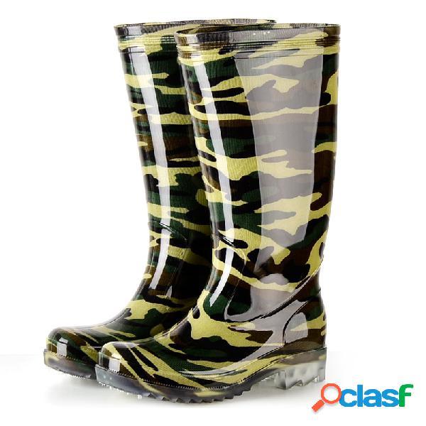 Hombre high top impermeable camuflaje lluvia botas