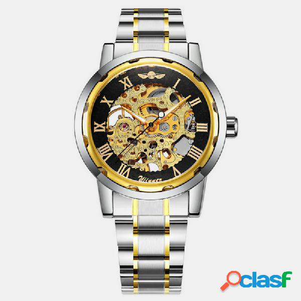 Hombres de negocios reloj acero banda impermeable reloj automático completo mecánico