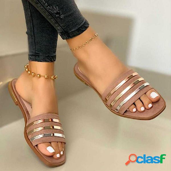 Plus tamaño mujer daily square toe metal decor cómodo flat zapatillas