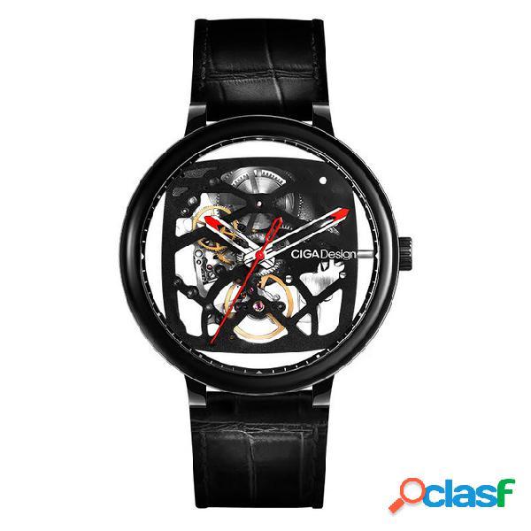 Ciga diseño reloj automático creativo mecánico piel genuina reloj con correa para hombre
