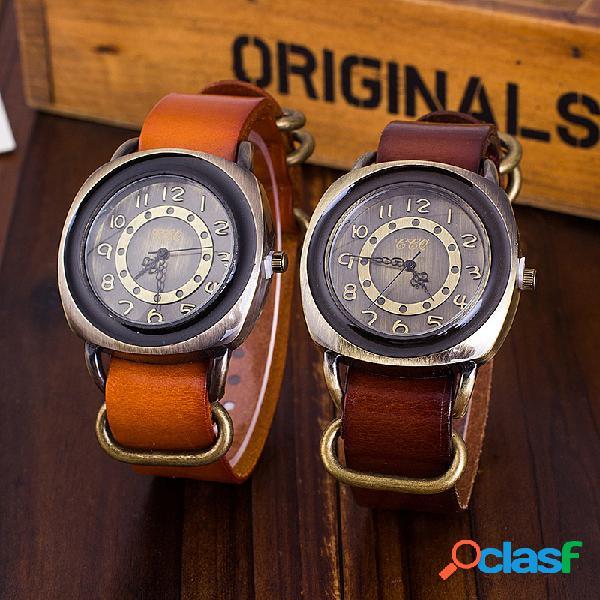 Reloj de pulsera de cuero de vaca vintage reloj de cuarzo cuadrado ajustable para hombre mujer