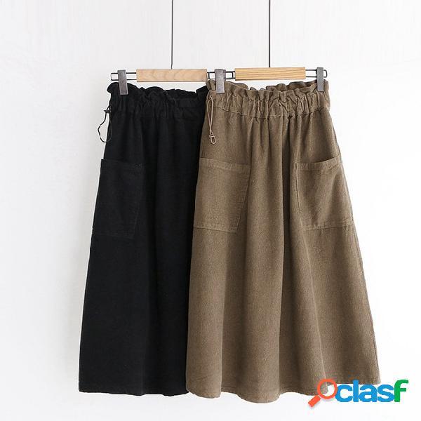 Falda literaria de bolsillo grande utensilio flor de cordón femenino una cintura alta una palabra falda paraguas falda media