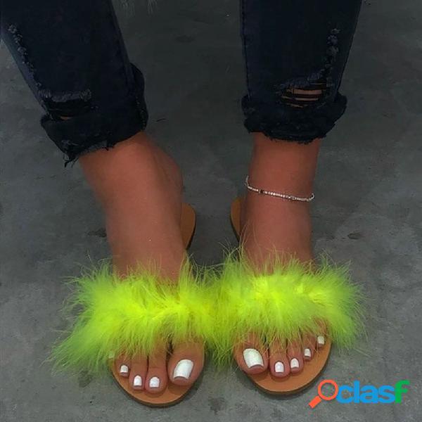 Mujer felpa furry decor comfy wearabale flat zapatillas