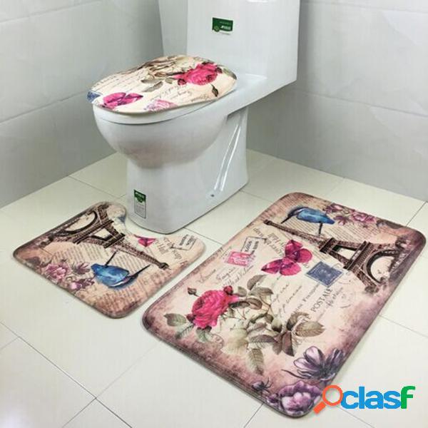 3pcs cuarto de baño antideslizante asiento de tocador tapa de alfombras de terciopelo coral salón decoración de la sala de estar