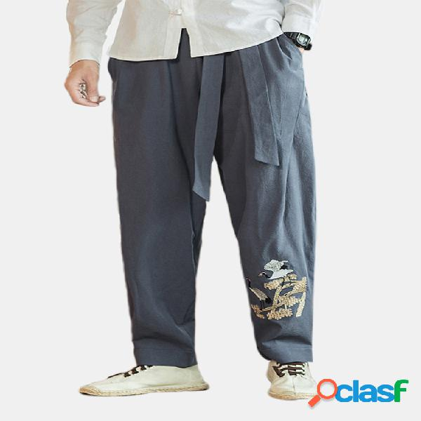 Para hombre de lino de algodón bordado chino retro harén flojo pantalones