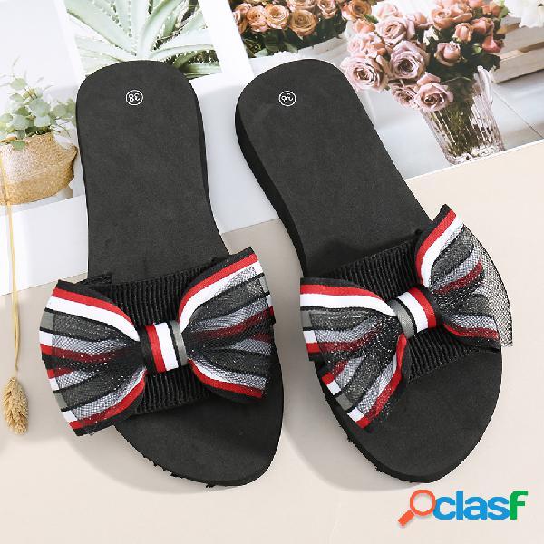 Mujer sweet double bow decor soft bottom casual plano zapatillas