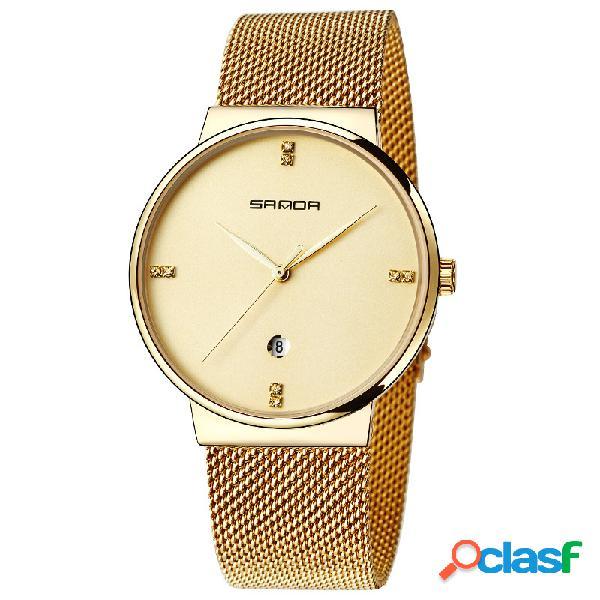 Reloj de pulsera de cuarzo para hombre reloj redondo de pulsera de acero para hombre