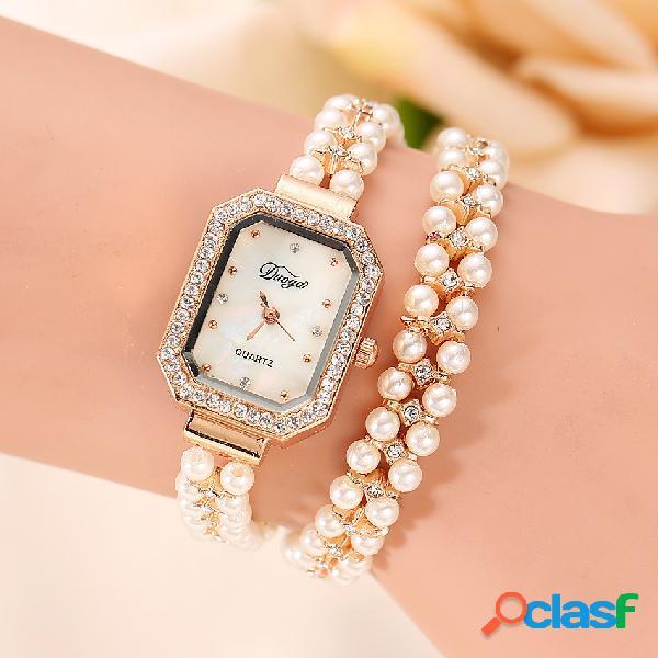Elegante perla de múltiples capas reloj rhinestone crystal bracelet watch para mujeres reloj de cuarzo