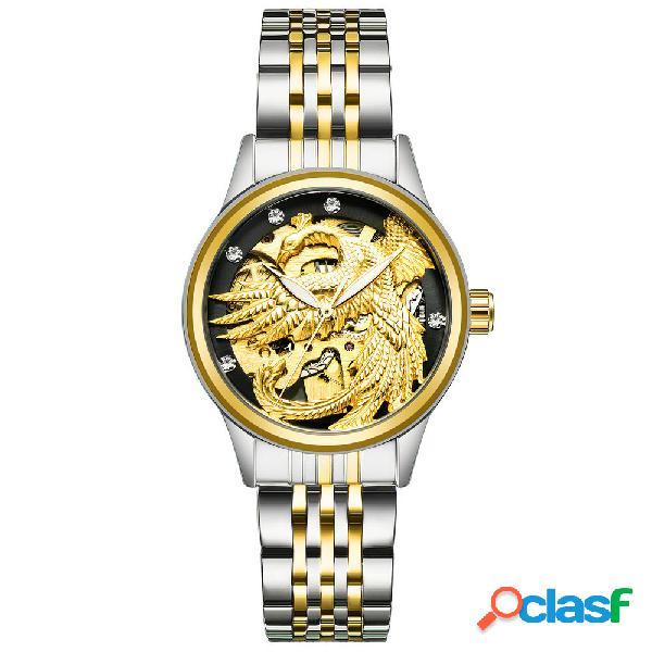 Tevise reloj mecánico automático de lujo luminous dragon phoenix pareja reloj para ella