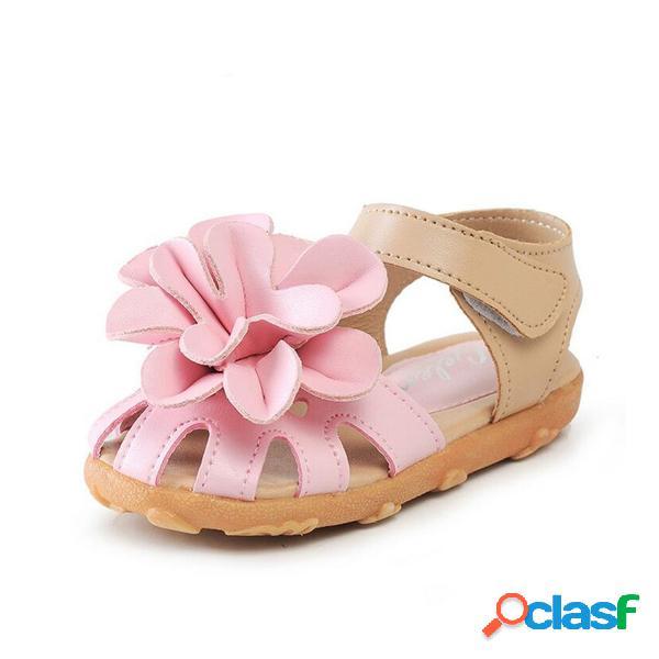 Summer toddler girls sandalias princess flowers soft zapatos planos